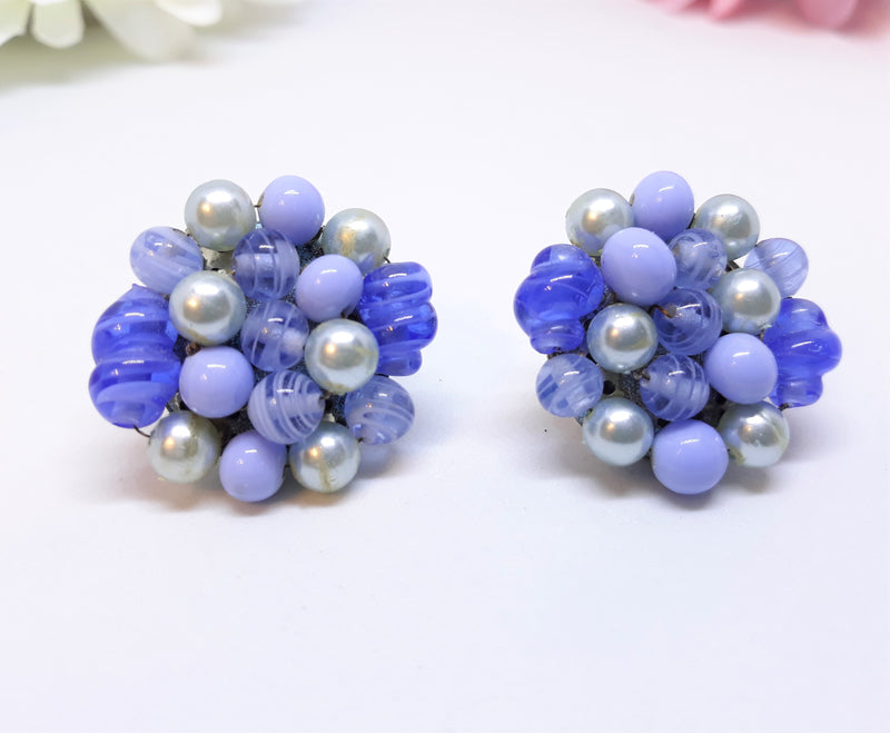 Blue Floral Cluster Earrings, 1950s