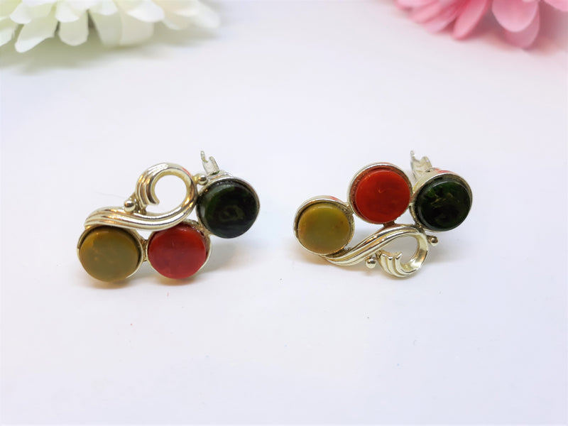 Vintage 1960s Thermoset Clip-on Earrings, Wonderful Red, Greens