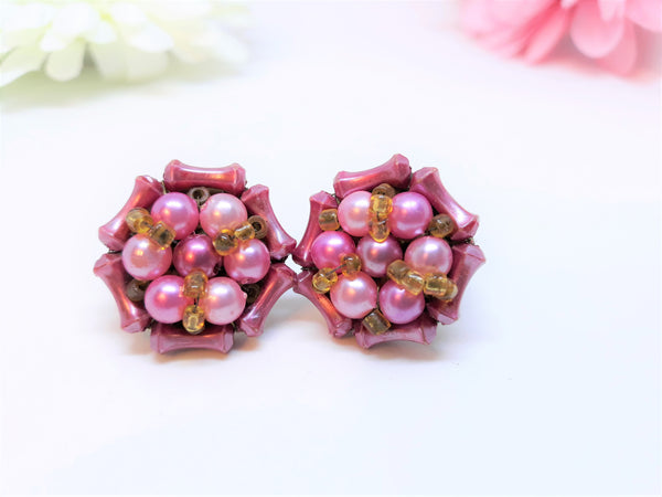 Stunning HOT pink Cluster Earrings -  Made in Hong Kong, 1950s