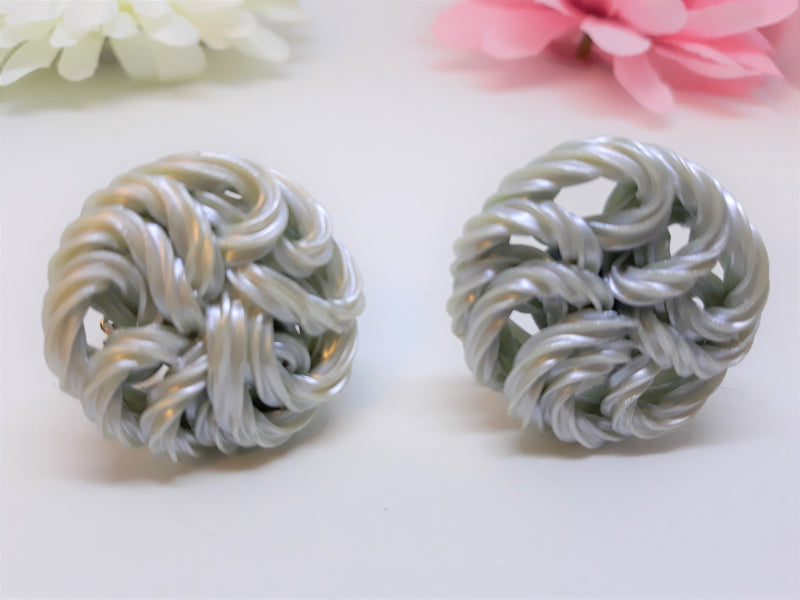 Vintage Lucite Rope Clip On Earrings