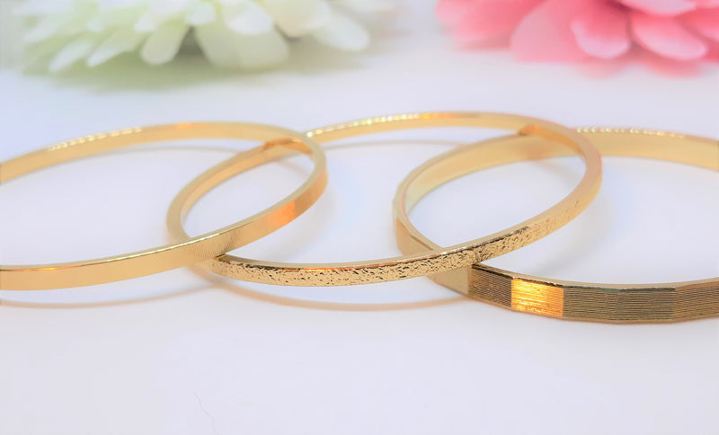 Monet Gold Tone Bangle Collection  - 3 x Signed - Gold Tone Size Small or Medium