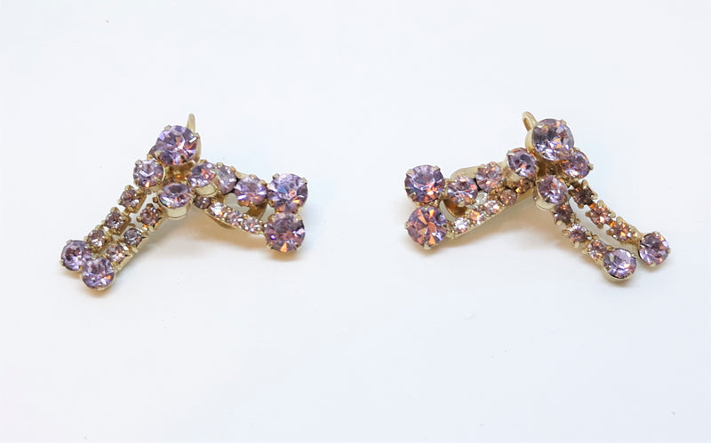 Vintage Juliana Style Purple Rhinestone Pronged Screw Back Earrings