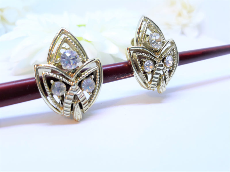 Stunning Royalty Leaf Earrings in Gold and Rhinestone - Clip-On Earrings