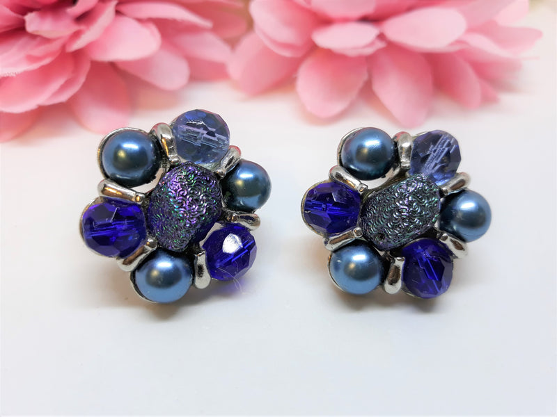 Vintage Blue Glass and Vintage Plastic Cluster Earrings - STUNNING, High Quality