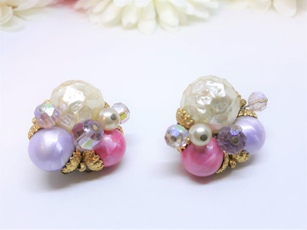 Vintage, Ornate Pearl and Pink Clip-On Earrings, 1950's Bridal