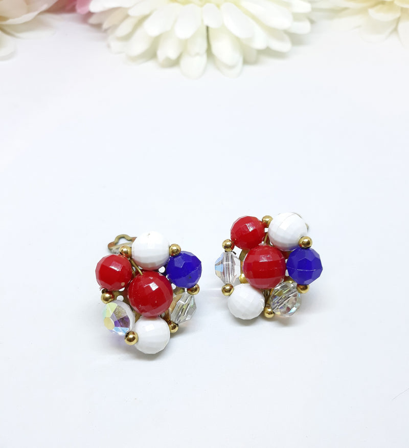 Vintage Red, White and Blue, Cluster Earrings - 1950s