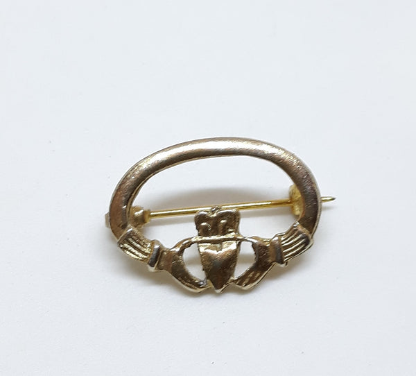 Vintage Claddagh Pin - Gold Tone