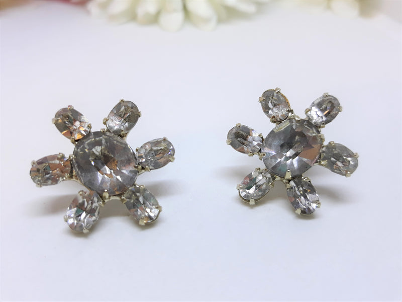 Vintage Smoky Black Rhinestone Earrings - Screw Back Earrings