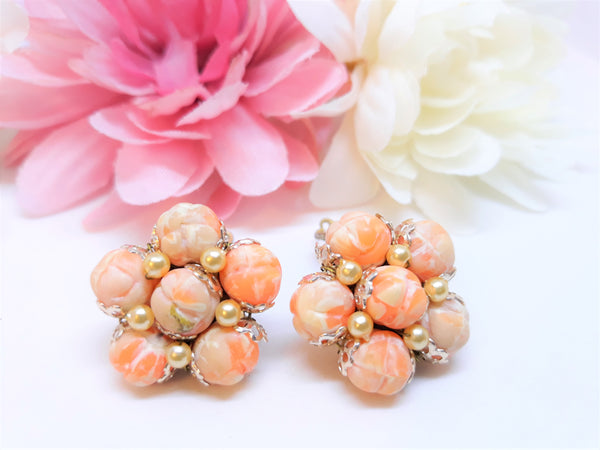 Vintage Orange Cluster Earrings - Stunning 1950s