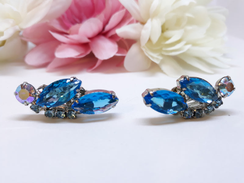 Vintage Marquis Turquoise and Aurora Borealis Clip-on Earrings - Juliana Unmarked