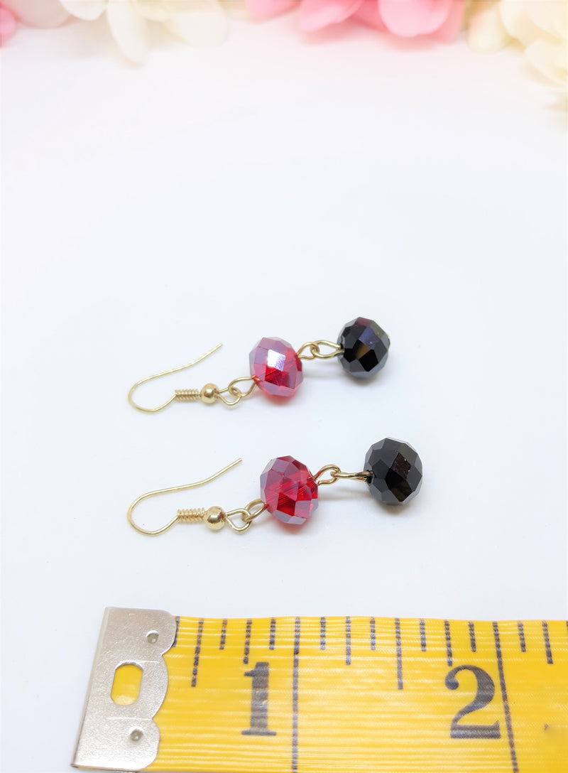 Stunning Red and Black Austrian Crystal Earrings - Pierced