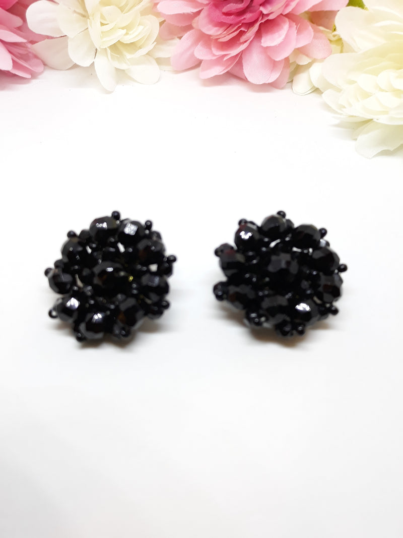 Stunning, Large Black Vintage Cluster Earrings - 1.5 Inches