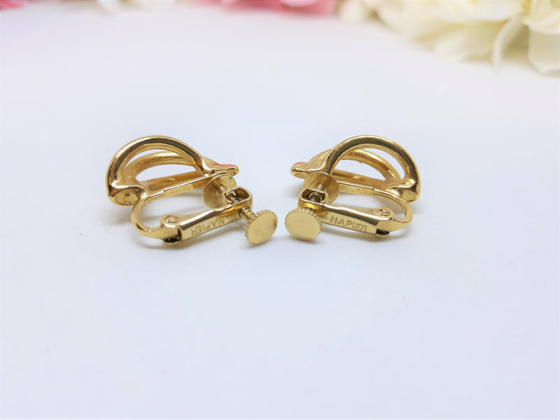 Napier Signed, Gold Tone Screw Back Earrings