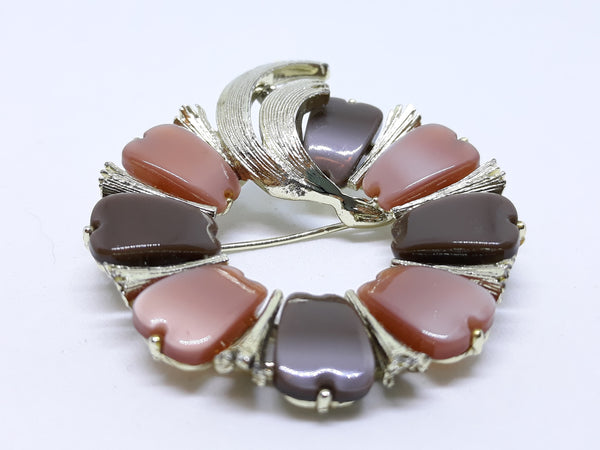 Stunning Silvertone Thermoset Brooch - Earthy and Unique Pink & Grey Tones, Cara