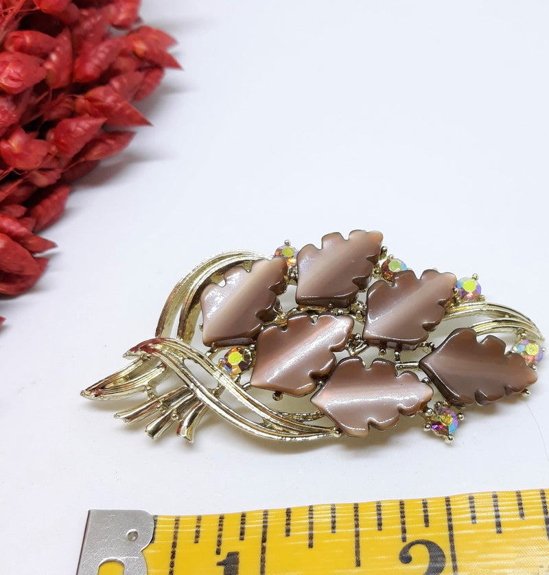 Vintage Thermoset Brooch with Leaf Cabochons - Silver with Aurora Borealis Stones