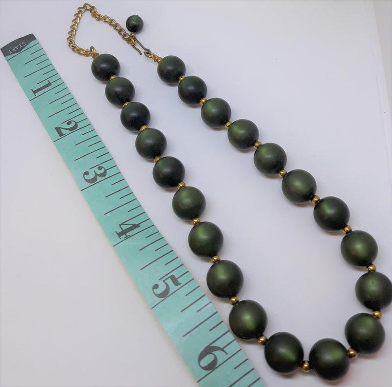 Spectacular Dark Green Beaded Vintage, 1950s Necklace