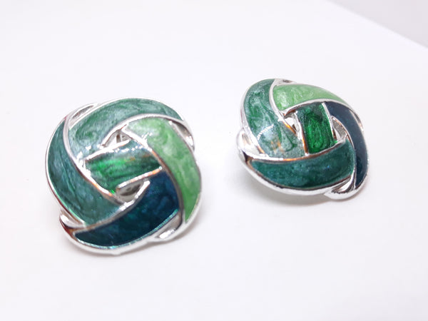 Vintage Turquoise Clip-on Earrings - Green and Silver Metal Tone