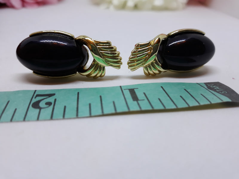 Vintage Coro Black Thermoset Earrings - Clip-ons 1950s