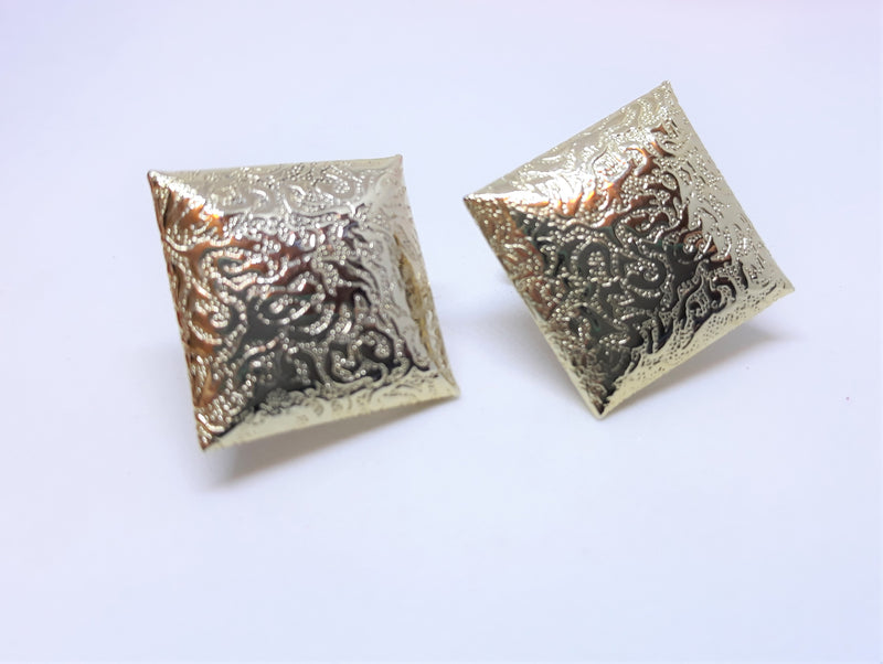 Vintage Gold Textured Diamond Earrings - Screw Back Earrings