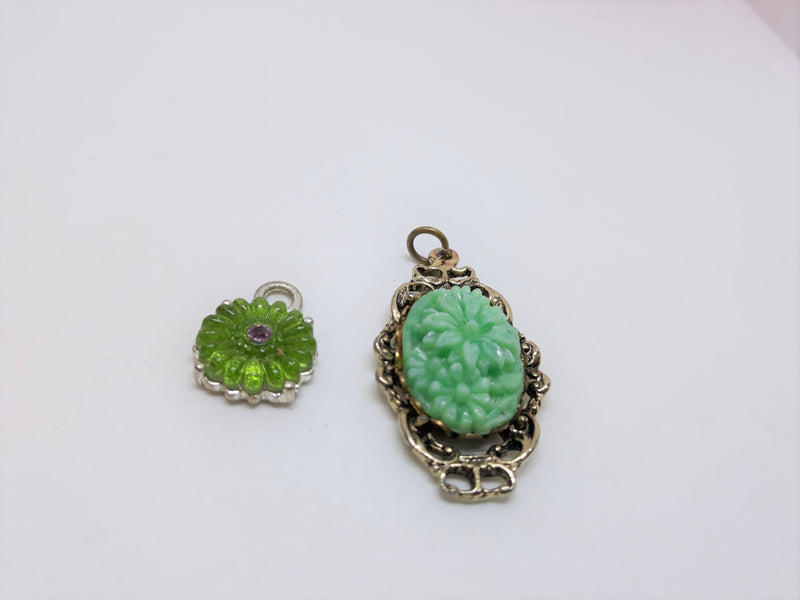Vintage Pendants - Turquoise and Vintage Lucite Green, 1960s
