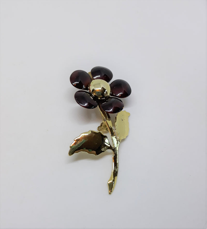Tiny Floral Brooch - Burgundy and Gold Tone