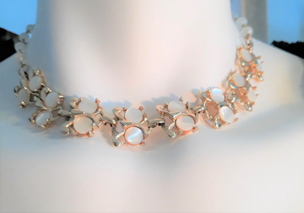 Stunning, Vintage Moonglow White and Gold Necklace, 1950s