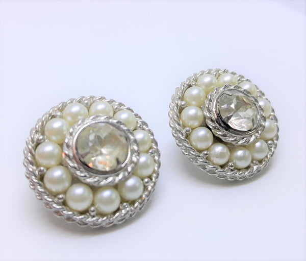 Silver and Rhinestone Sarah Coventry Vintage, Clip-on Cluster Earrings