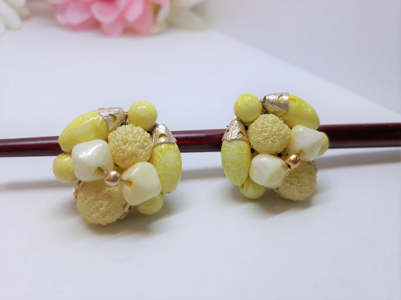 Vintage Yellow Cluster Earrings - 1950s