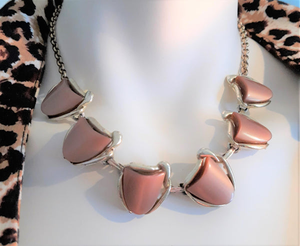 Chocolate Brown Thermoset Necklace - Stunning, 1950s-60s