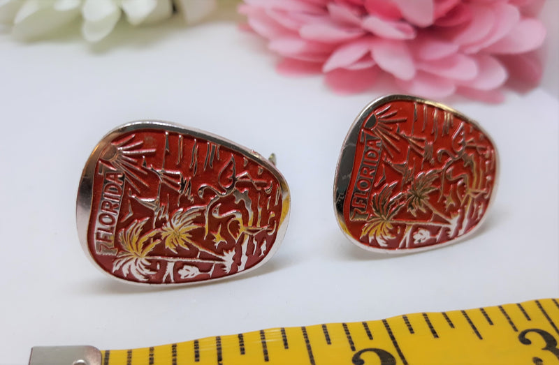 Vintage Florida Souvenir Earrings with Palm Trees - Clip-on, 1960s KITSCH