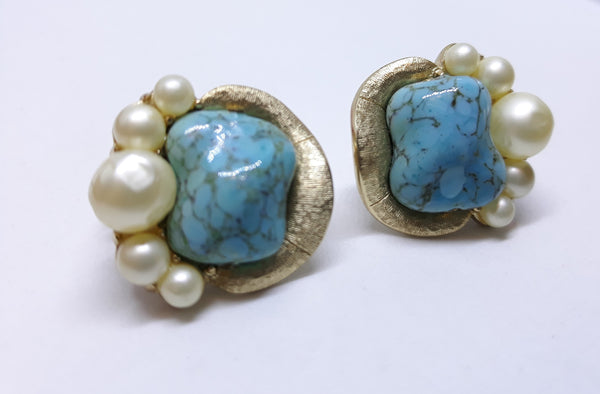 Trifari Signed Blue Marble and Pearl Earrings, Clip-on Earrings Encased in Gold Tones