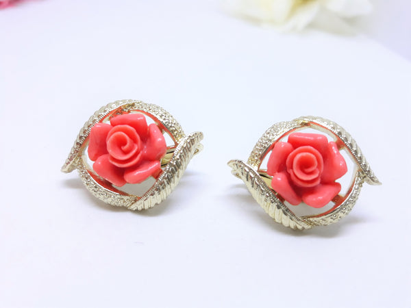Sarah Coventry, Gorgeous Salmon Coloured Floral Clip-On Earrings