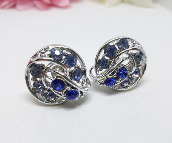 Crystal Blue Rhinestone Screw Back Earrings