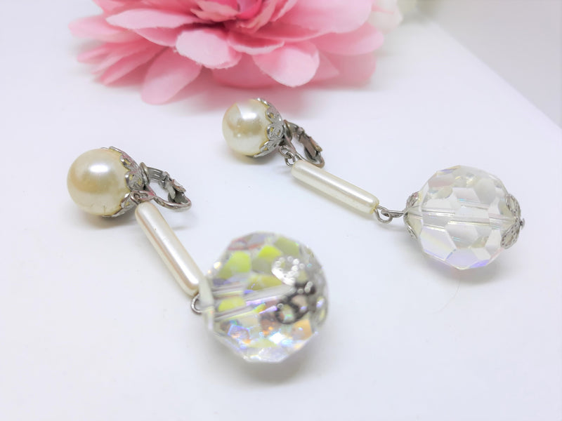 Stunning 1960s Disco Ball Dangle Clip-on Earrings