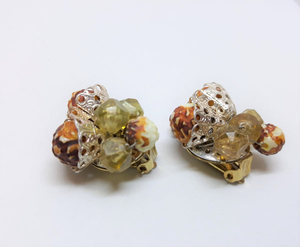 Vintage Made in Hong Kong - Acorn Orange and Light Green with Silver Filigree
