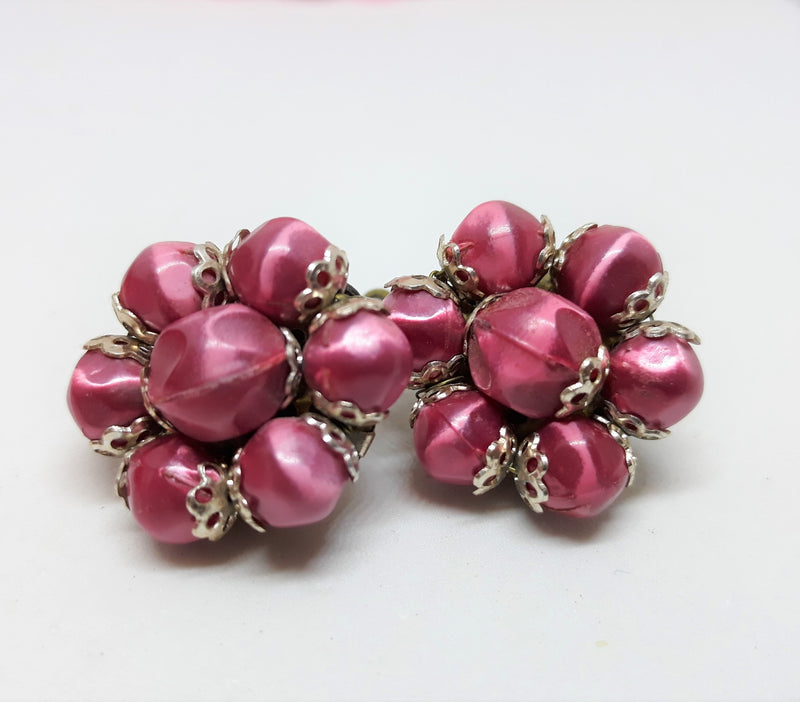 Stunning RED Vintage Cluster Earrings,1950s Made in Hong Kong