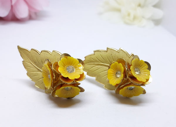 Vintage Yellow and Gold Leaf Earrings