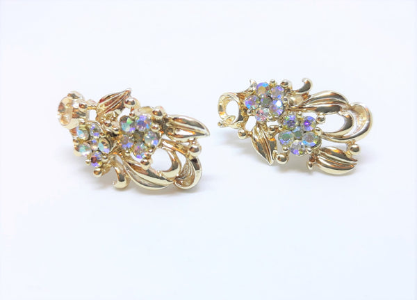 Stunning Aurora Borealis Earrings - Screw Backs - Gold Tone