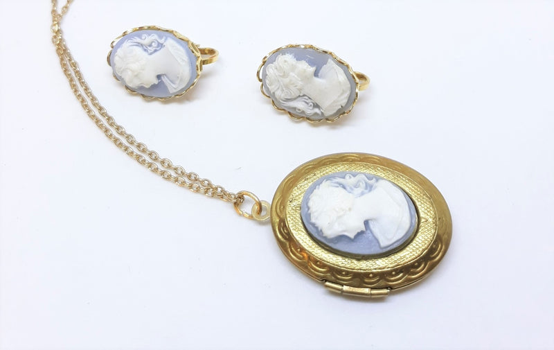 Stunning Vintage Blue and Gold Cameo Locket Pendant and Matching Earrings