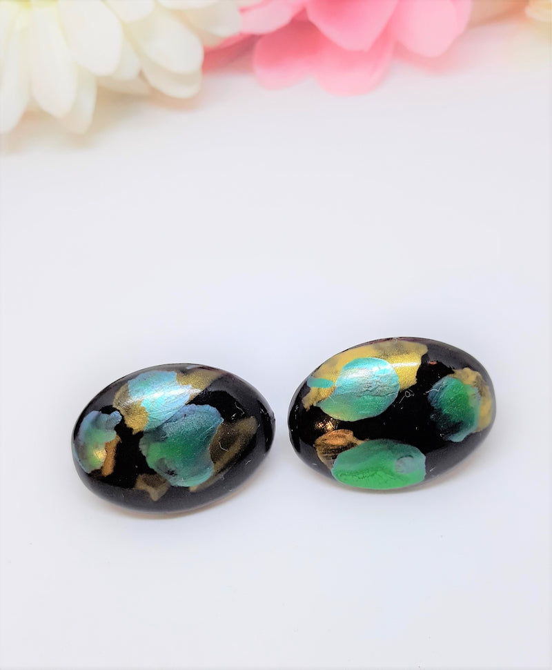Blue Green and Black Oval Earrings - Pierced