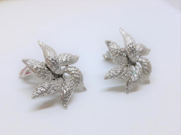 Stunning Silver Tone, Starfish Shaped Earrings, Clip-on Vintage 1960s