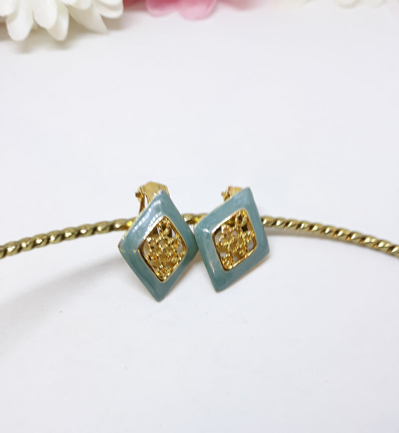 Gorgeous  Teal and Gold Diamond Shaped Clip-on Earrings - 1960s