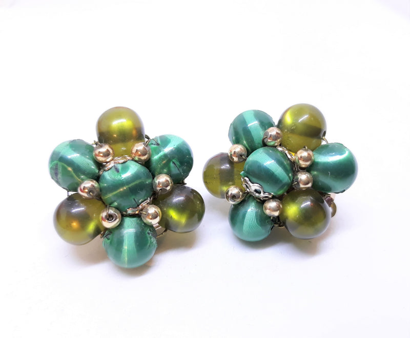 Vintage Blue, Green and Silver Clip-on Earrings, 1950s/60s