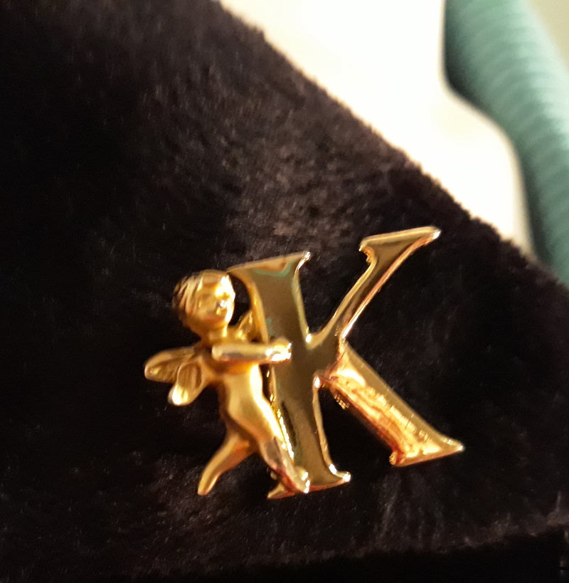 Stunning K  Angel Insigna or Initial Brooch - GOLD Tone