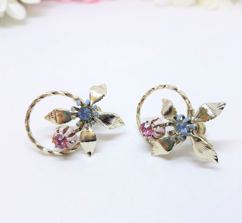 Stunning Vintage Floral Screwback Earrings - Blue and Pink Rhinestone