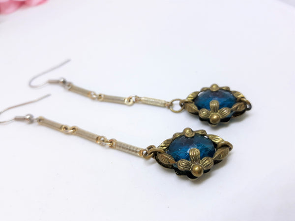 Vintage Turquoise Dangle Earrings with Antique Silver - Pierced