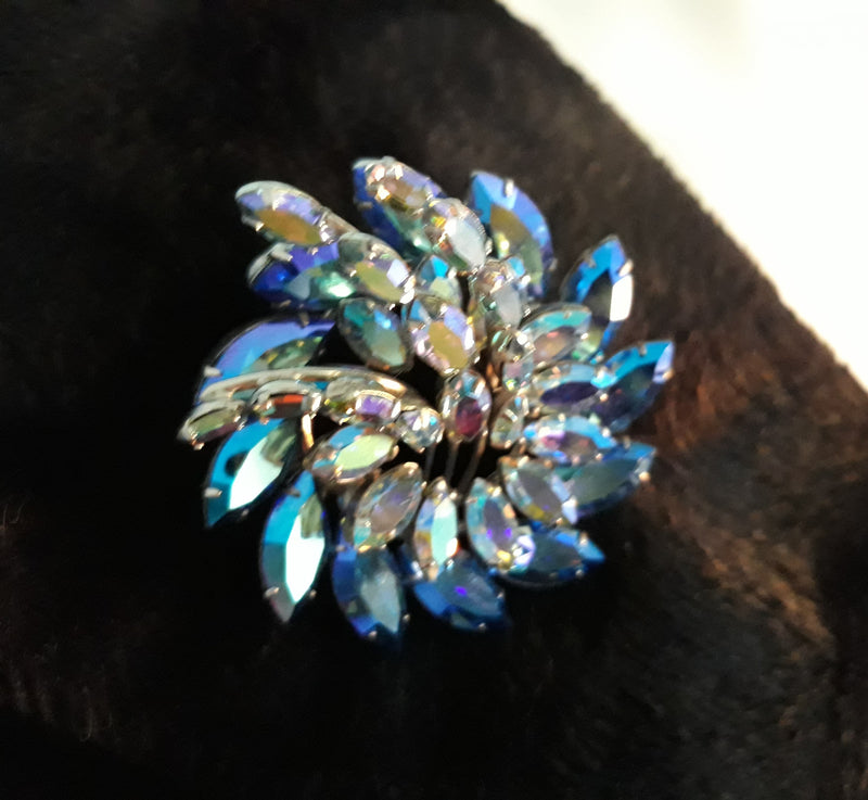 Absolutely Stunning Blue Aurora Borealis Marquis Brooch and Matching Earrings
