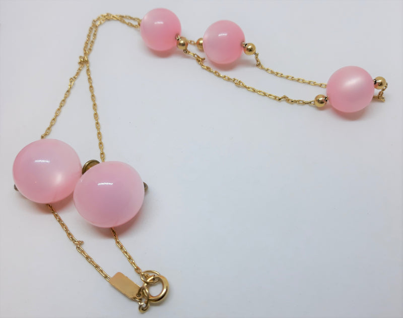 Pink Thermoset Round Cabochons Necklace by Celebrity with Matching Earrings