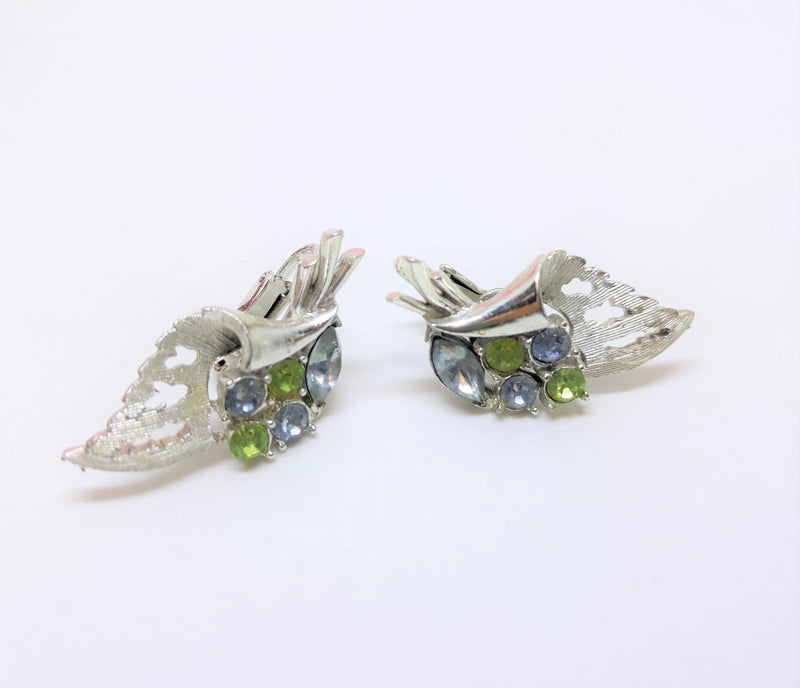 Coro Silver Blue and Green Clip-on Earrings - 1960s