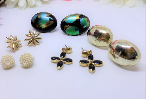 Stunning Pierced Earring Collection (5 Pairs) LOT - Vintage Multi-Coloured